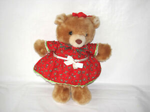 """VINTAGE RUSS BERRIE CHRISTMAS BEAR HOLLY # 652 PLUSH TOY 10"""""""