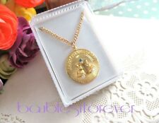 Vintage HAPPY ANNIVERSARY Gold Plated Pendant Charm Necklace New Old Stock