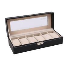 6 Slot Leather Watch Box Display Case Organizer Glass Top Jewelry Storage New