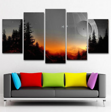 Star Wars Tree Death Star Painting Canvas Pictures Print Wall Art 5 Pieces Decor