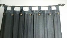 Bali Natural Cotton Coloured Tab Curtains (Pair) Black