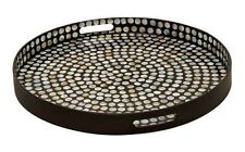 Wood Tray Lacquer 24 x 3 Inches Design Black Round Serving Kitchen Wooden Deco79