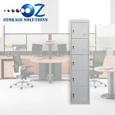 5 Door Metal Locker Steel Cabinet Garage Gym Storage School Shop Office Grey