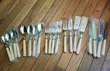 Martha Stewart Brown Handles Setting for 4 - MSE Stainless China Flatware Set
