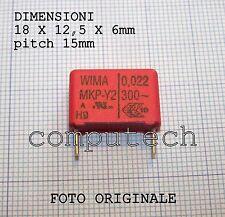 22nF 0,022uF 300Vac 10% WIMA MKP Y2 Condensatore RFI in Polipropilene 1 pezzo