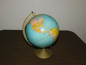 "VINTAGE  MADE USA 10"" HIGH REPLOGLE 8"" METAL WORLD GLOBE"