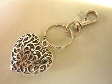 Herz Schlüsselanhänger Taschenanhänger Metall mit Karabiner silber 1433