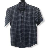 Puritan Mens Button Front Shirt Blue Gray Plaid Short Sleeve Pocket Casual M