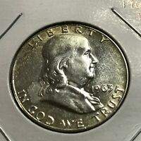 1963-D FRANKLIN SILVER HALF DOLLAR  HIGH GRADE COIN