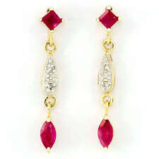 Drop/Dangle Natural Ruby Yellow Gold Fine Earrings