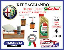 KIT FILTRI + OLIO CASTROL 5W30 ALFA MITO 1.3 JTD MULTIJET TAGLIANDO