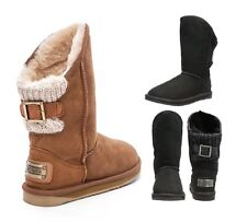 Australia Luxe Women Spartan Knit Buckle Shearling Sheepskin Fur Boots NEW