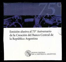 ARGENTINA BLISTER MONETA 2 PESOS 2010 UNC-BANCA CENTRALE 75th Anniversario