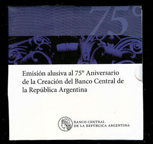 ARGENTINA BLISTER COIN 2 Pesos 2010 UNC - Central Bank 75th Anniversary