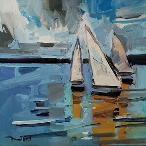 JOSE TRUJILLO Oil Painting IMPRESSIONISM SAILBOATS COLLECTIBLE ORIGINAL MODERN