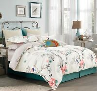 Oriental Print 100% Cotton Bedding Set:1 Duvet Cover & 2 Pillow Shams All Sizes