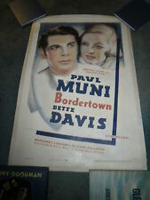 BORDERTOWN(R-38)BETTE DAVIS PAUL MUNI ORIGINAL 1SHEET ON LINEN