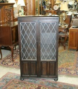 English Oak Jacobean Leaded Glass Door Bookcase / Display Cabinet