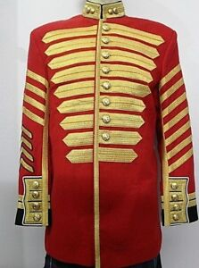 British Grenadier Guards Drum Major Tunic Red Blazer Wool Gold Braid And Buttons