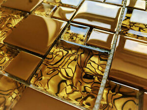 NEW LUXURY COPPER GOLD METALLIC GLASS SQUARE MOSAIC WALL TILES 8MM - RRP £16