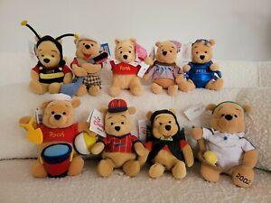 Vintage 9 x Disney Winnie the Pooh Plush Mini Bean Bag Toys