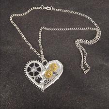 Love Heart Shape  Steampunk Necklace Gear Pendant Women Jewelry Gift