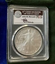 2010 1$ US 1 OZ US SILVER EAGLE PCGS MS70 MERCANTI SIGNED One of 77 FREE POUCH