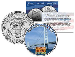 AKASHI KAIKYO BRIDGE * Famous Bridges * Colorized JFK Half Dollar US Coin Japan
