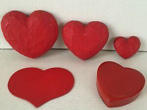 Graduating Wood Chiseled Heart Shapes Wall Decor Plastic Heart Trinket Box