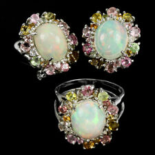 NATURAL RAINBOW OPAL & MULTI COLOR TOURMALINE STERLING 925 SILVER SET SIZE 7.25