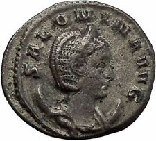 SALONINA wife of GALLIENUS 255ADAuthentic Ancient Silver Roman Coin JUNO i45599