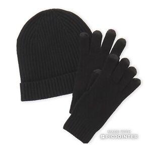 Qi Men's Black Cashmere Hat & Tech Glove Set one size NWT$125.00 black set