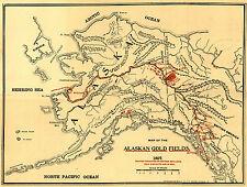 1897 Alaska Geological Survey Map Gold Mining Fields Mines Yukon Klondike Rush