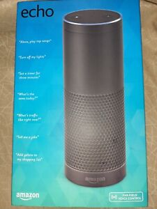 Amazon Echo Plus Smart Assistant - black in box with plug