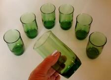 """(Seven) 7 Forest Green Anchor Hocking  4"""" Juice Glasses"""