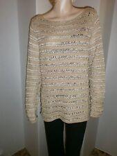 Lauren Ralph Lauren L (12-14) linen blend brown chunky knit l/s sweater, NWT