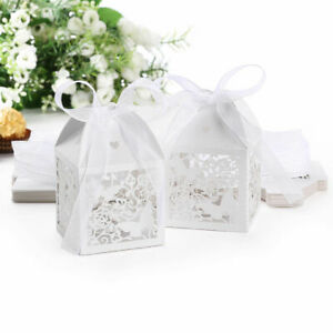 50x Butterfly  Cut Wedding Bday Anniversary Party Cake Candy Gift Boxes