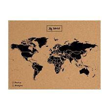 Mapa del Mundo Pared De Corcho Natural Mapamundi de Pared 60x45 Con Marcadores