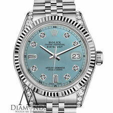 Rolex 36mm Datejust Ice Blue Color Dial with 8+2 Diamond Dial RT Unisex Watch