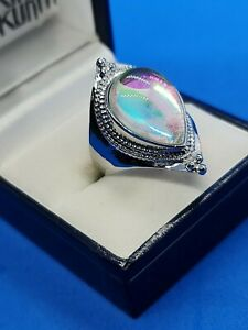 rainbow moonstone 925 sterling silver gorgeous sf ladies ring size 8 us