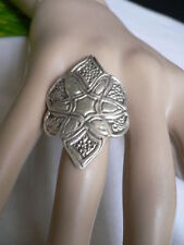 African Style Corved Flower Adjustable Size New Women Ring Fashion Silver Metal