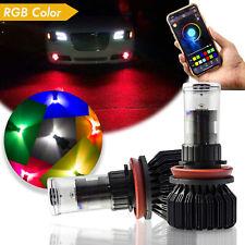 2pcs 9006 HB4 9012 RGB White Color LED Fog Light Driving Bulbs Phone APP Control