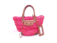 Auth BALENCIAGA Laphia Tote Handbag Pink/Brown Straw/Leather w/Mirror - e43441