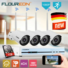 1080P 4CH Funk CCTV DVR 4X WLAN IP Kamera Video Überwachungssystem Set+ 1TB HDD