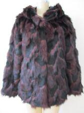 $229 ADRIENNE LANDAU PURPLE & BLACK MIX FAUX FUR HOODED COAT SIZE L - NWT