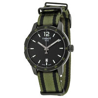 Tissot Quickster Black Dial Green and Black Nylon Mens Watch T0954103705700