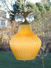Vintage Amber Cased Ribbed Art Glass Hanging Swag Lamp Light w Prisms ITALY