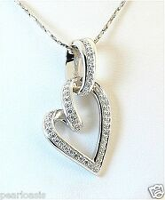 Large Diamond Heart Pendant - 0.36 Carat 14K White Gold 3.5 Grams NEW