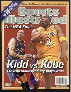 Jason Kidd Signed Sports Illustrated Mag 1/28/02 No Label Nets Auto Kobe Steiner