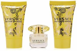 VERSACE YELLOW DIAMOND 3 PCS MINI GIFT SET EDT 0.17 Oz, BODY LOTION, SHOWER GEL